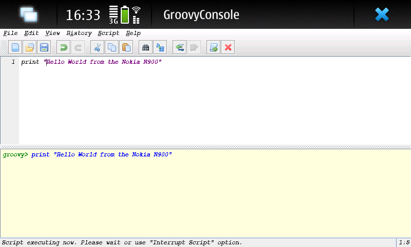 groovyConsole on Nokia N900